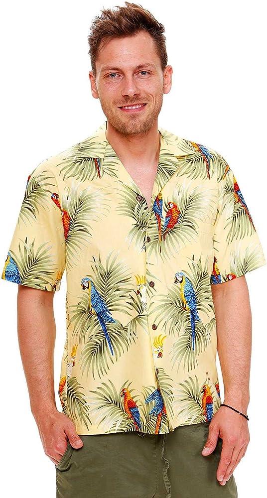 KY s | Original Hawaii Camisa | Hombre | S – 8 x l | manga corta | frontal de funda | Hawaii de Print | Papagayo palmera hojas vacaciones, Amarillo amarillo S: Amazon.es: Ropa y accesorios