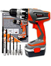 Terratek 18V Cordless Drill Driver, Sensational Electric Screwdriver set complete with 13pc Drill and Bit Set