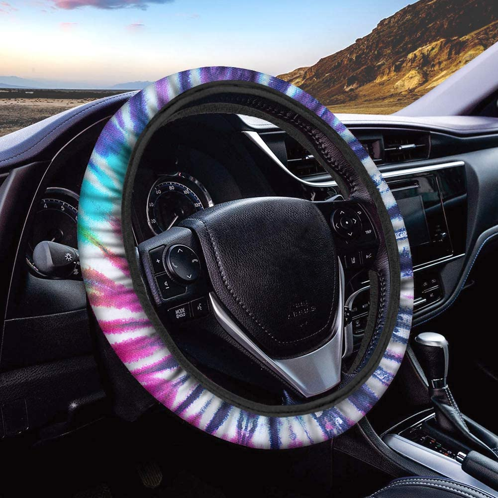 Youngerbaby Car Steering Wheel Covers Neoprene Anti Slip Native American Style Print Car Steering Wheel Cover for Women and Girls 15 inch Universal Automotive Steering Cover Purple Butterfly 1