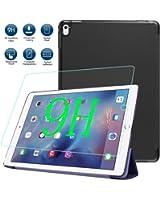 iPad Pro 9.7インチ ケース+iPad Pro 9.7 強化ガラス【MYLB】iPad Pro 9.7インチ 高品質 PU ケース超耐磨 超薄型スリム+9H 0.33mm 強化ガラス(ブラック)