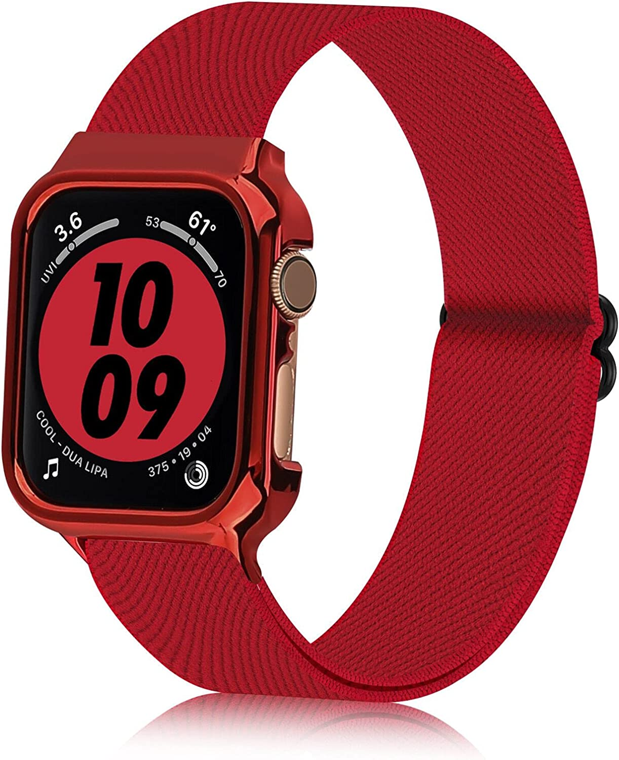 Bandiction Nylon Stretch Band Compatible with Apple Watch Bands 38mm 40mm 42mm 44mm, iwatch bands with Protective Case,Adjustable Elastic Stretches Women Men apple watch band for iWatch Series SE/ 6/5/4