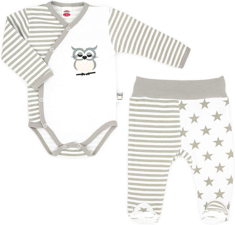 Baby Body /& Strampelhose mit Fu/ß Unisex Makoma Baby Erstausstattung Neugeborenen Set 2tlg