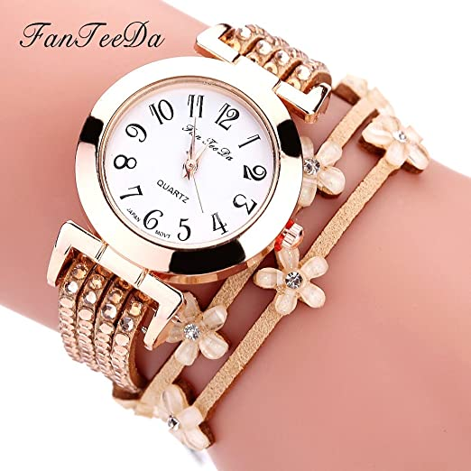 Para mujer pulsera relojes Cooki en venta de flores Lady relojes mujer relojes analógico de cuarzo cuero barato Relojes para women-a129: Amazon.es: Relojes