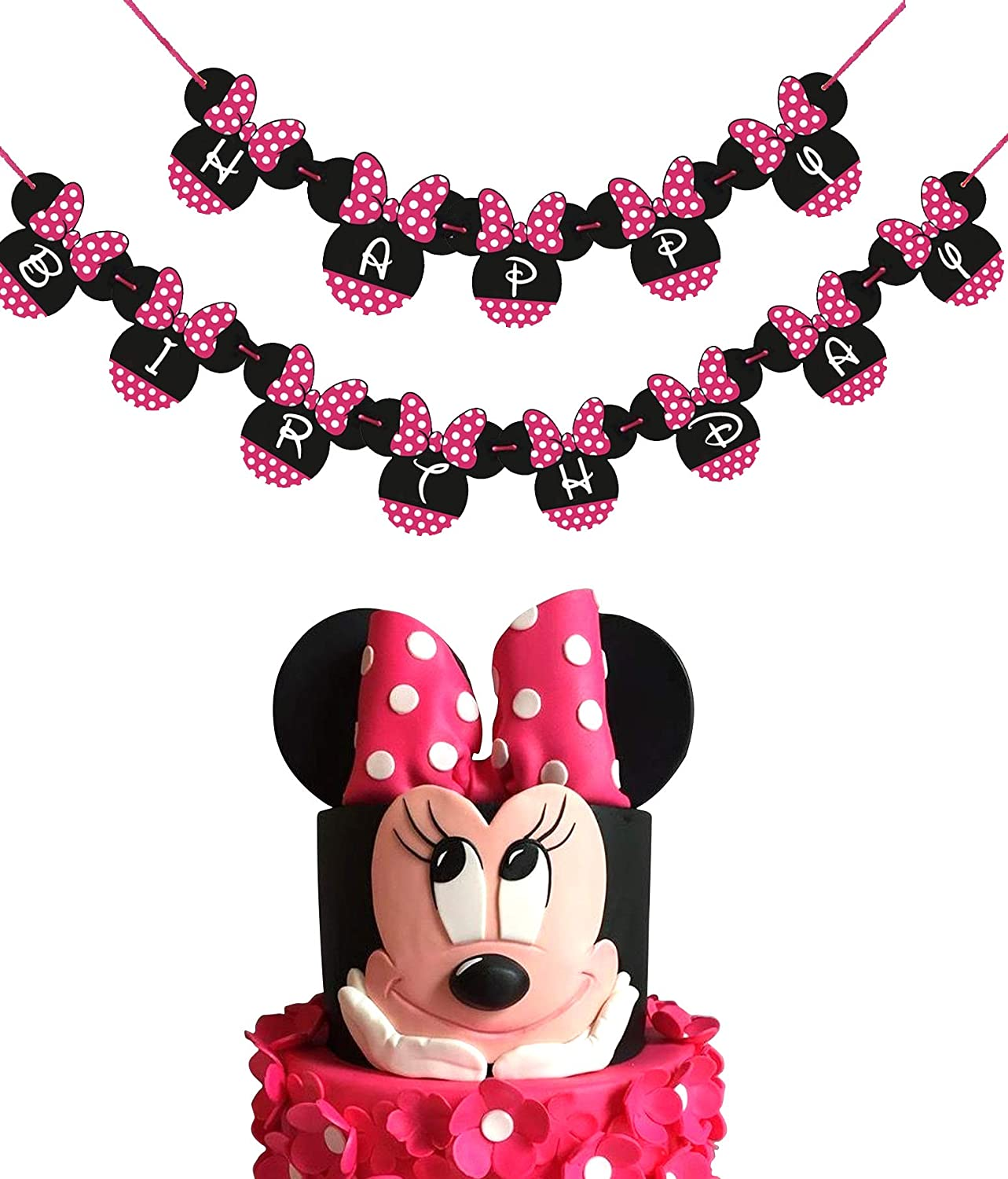 Minnie Mouse Inspired Banner Happy Birthday Banner Custom Age Minnie Party Minnie Mouse Decorations Minnie Banner