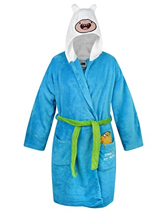 02920adbe5 Official Adventure Time Finn The Human Hooded Bath Robe  Amazon.co.uk   Clothing