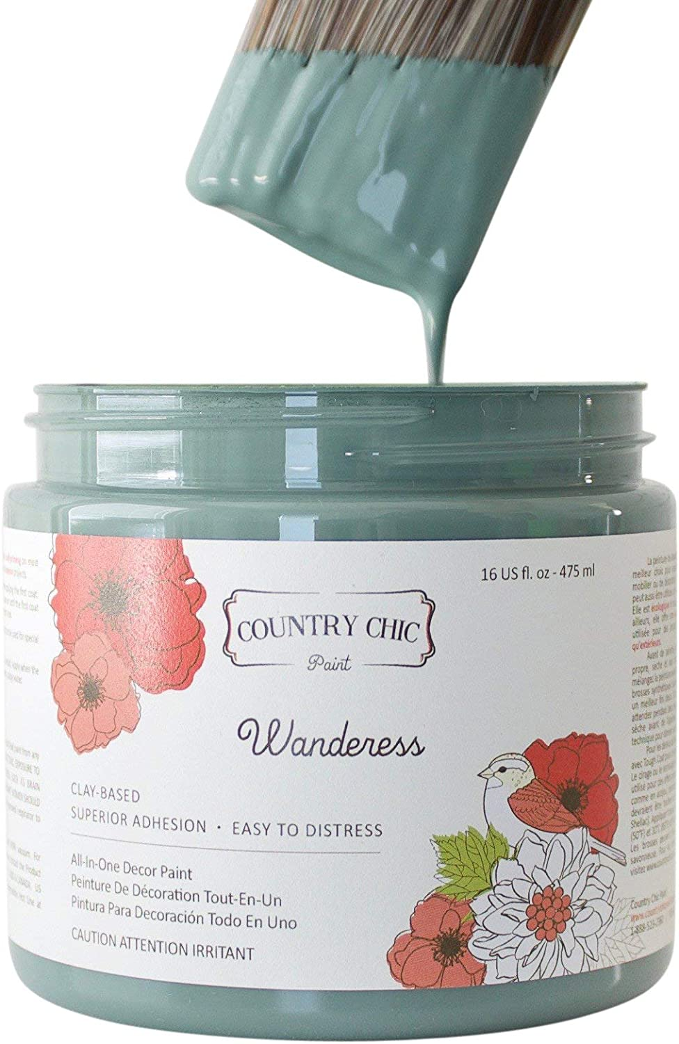 Chalk Style Paint - For Furniture, Home Decor, Crafts - Eco-Friendly - All-In-One - No Wax Needed (Wanderess [teal], Pint (16 oz))