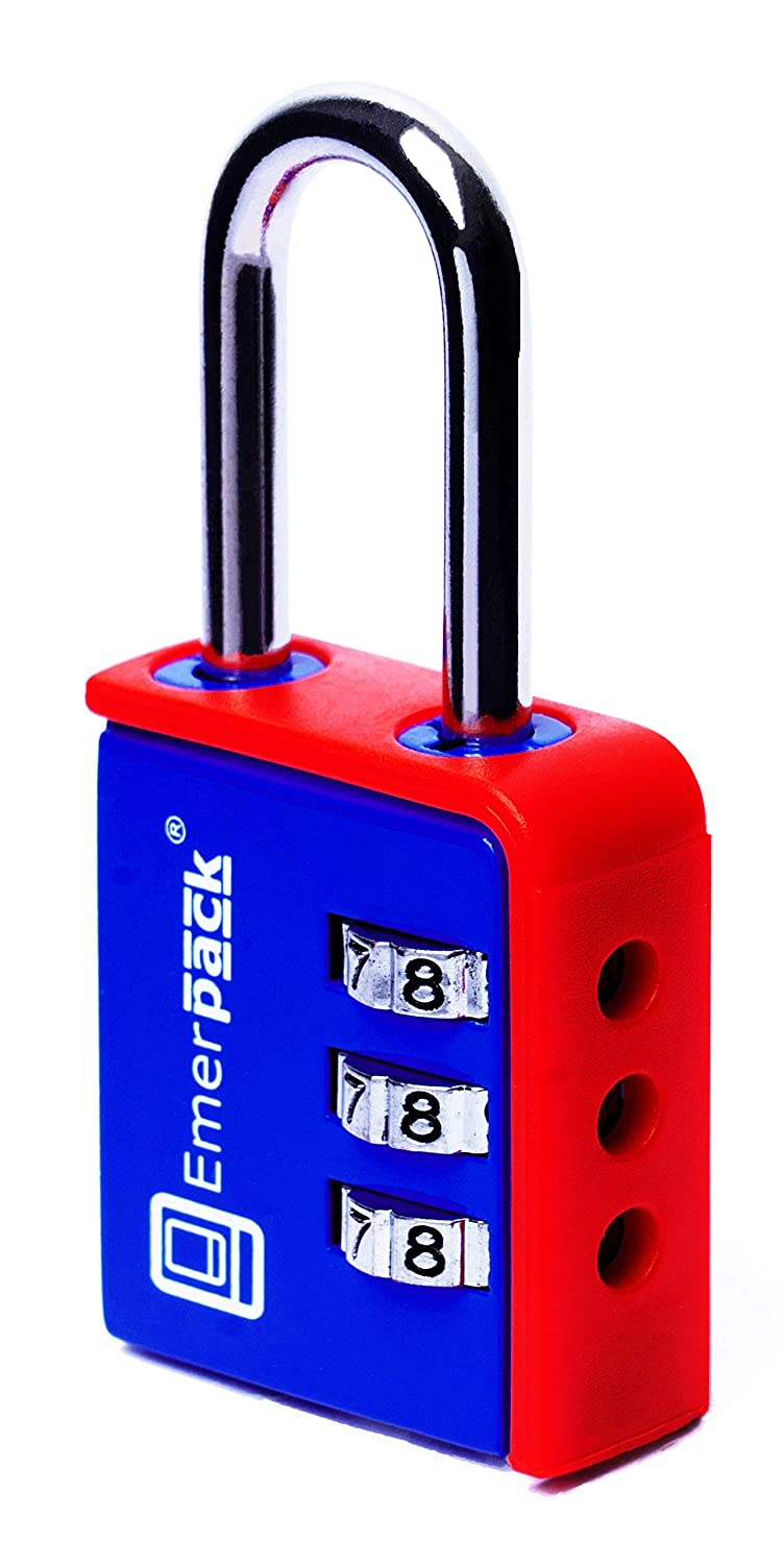 Locker Padlock with Combination (3-Digit) / Long Shackle Combination Lock in Different Colours/for School Or Gym Locker, Sports Bag, Backpack, Luggage Or Suitcase/Bicolour Keyless (Blue-Red) Dislobar