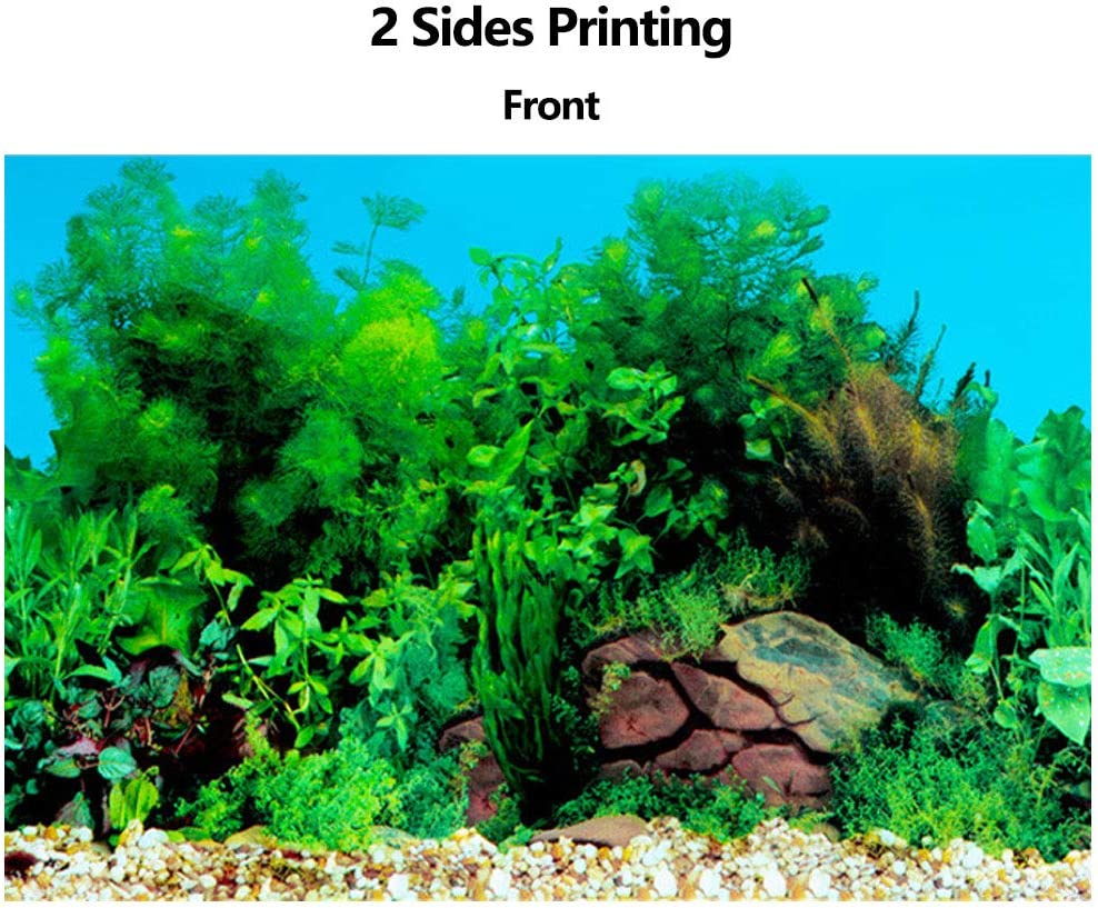 Amakunft 19.7 H x 24.4 W Aquarium Background Sticker Double Sides Wallpaper Fish Tank Backdrop Water Plants /& Coral Reef Poster