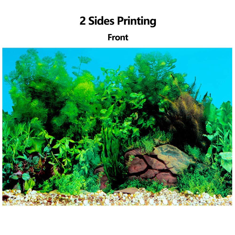 Amakunft Adhesivo de Fondo para Acuario de 50 cm de Alto x 61 cm de Ancho, Doble Cara, Papel Pintado, Fondo para pecera, Plantas de Agua y póster de ...