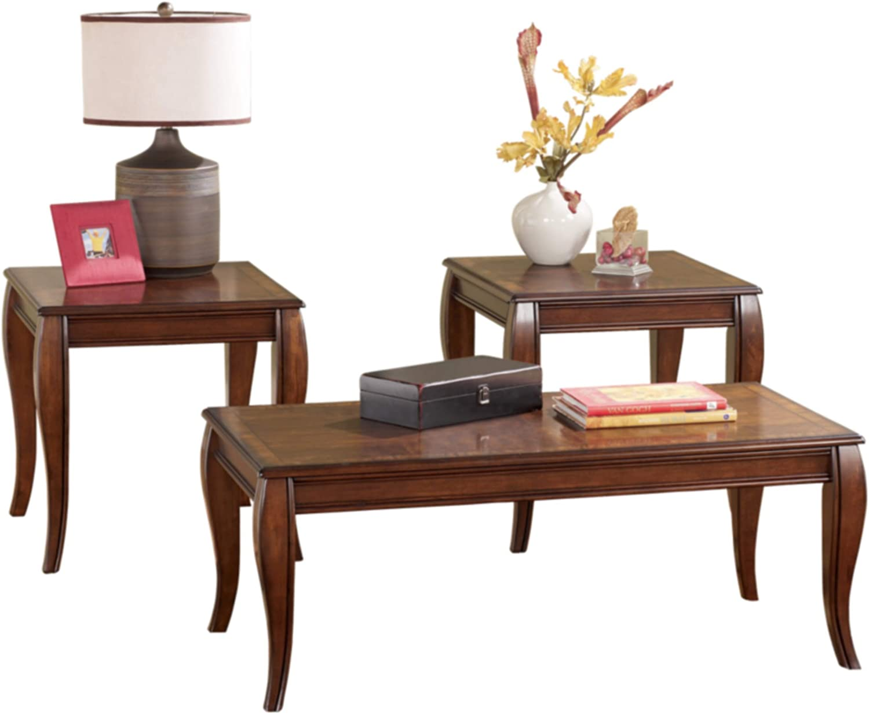 Signature Design by Ashley - Mattie Traditional 3-Piece Coffee Table Set, Reddish Brown