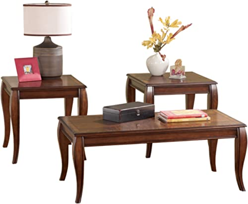 Signature Design by Ashley – Mattie Traditional 3-Piece Coffee Table Set, Reddish Brown