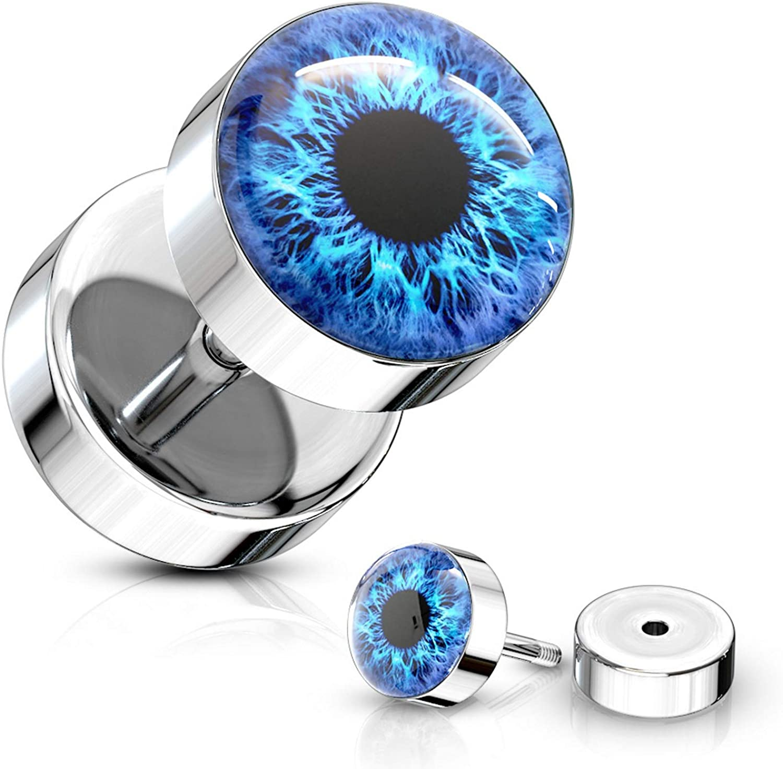 16G Imitation Opal Glitter Cheater Fake Ear Plug CHOOSE SINGLE OR PAIR