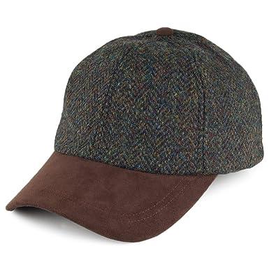 Failsworth Hats Harris Tweed Baseball Cap - Green Mix Adjustable ... 208e1bdf12f2