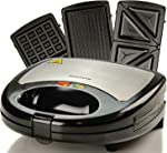 Ovente Electric Sandwich Grill Waffle Maker Set with 3 Removable Nonstick