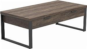 Coaster Home Furnishings Rectangular Coffee Table, Aged Walnut and Gunmetal