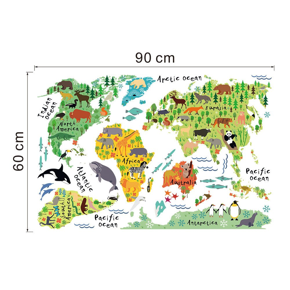 Winhappyhome animal world map kids wall stickers for children winhappyhome animal world map kids wall stickers for children bedroom living room nursery background sticker decor removable decals amazon home gumiabroncs Gallery