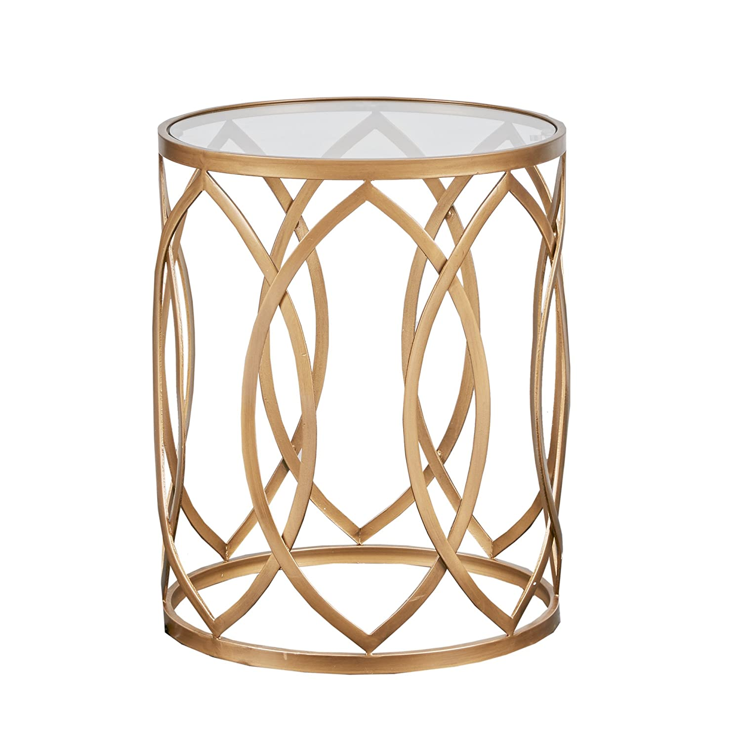 3636c4e2d7053 Amazon.com: Silver Orchid Grant Gold/Glass Metal Eyelet Accent Table:  Kitchen & Dining