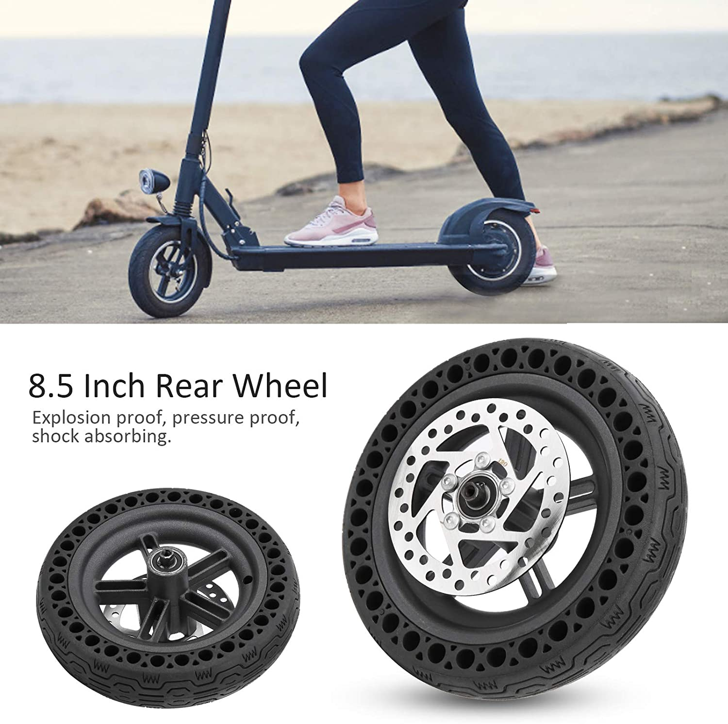 8.5in 120mm Electric Scooter Disc Brake Disc Rear Wheel with Back Wheel Hub VGEBY Electric Scooter Rear Tire