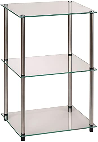 Convenience Concepts Designs2Go Go-Accsense 3-Tier Glass Square End Lamp Table, Clear Glass
