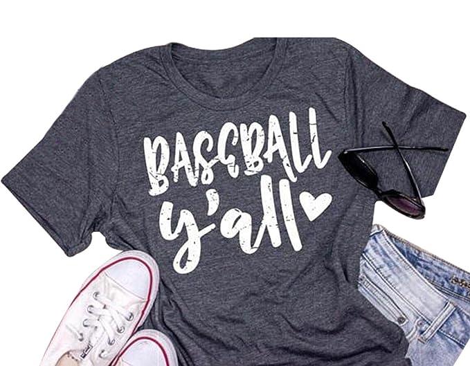 528a4d03 Baseball Y'all Love T-Shirt Women's Vintage Baseball Tee Short Sleeve  Casual Top