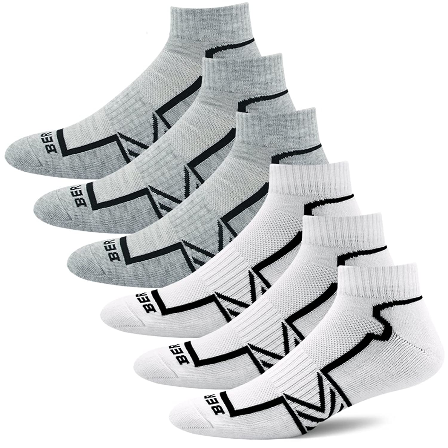 BERING Men's Performance Athletic Ankle Running Socks (6 Pair Pack)
