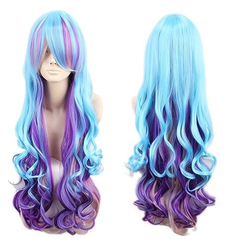 Topcosplay - Peluca de unicornio para mujer, rizada, larga, color azul y morado