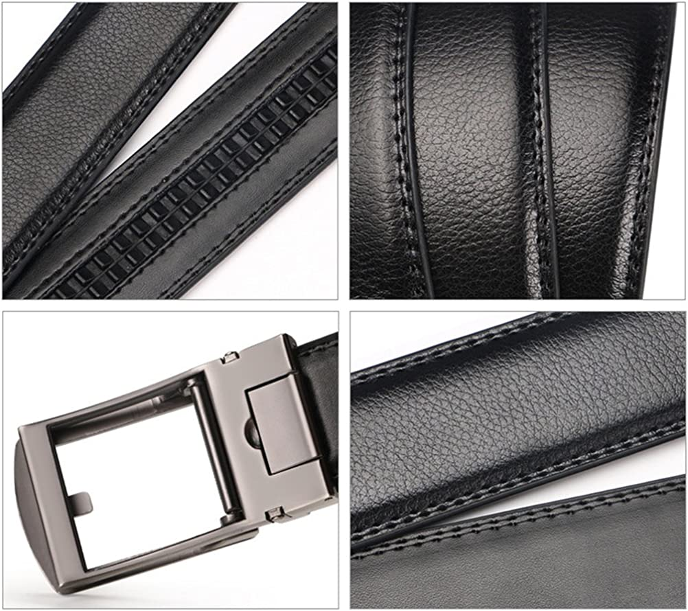 Zhhlinyuan Mens Belt Adjustable Faux Leather Belt Automatic Buckle 35mm Wide