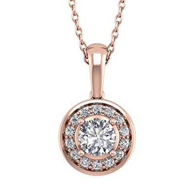 Amazon igi certified 14k rose gold halo solitaire diamond amazon igi certified 14k rose gold halo solitaire diamond pendant necklace 035 carat jewelry aloadofball Image collections