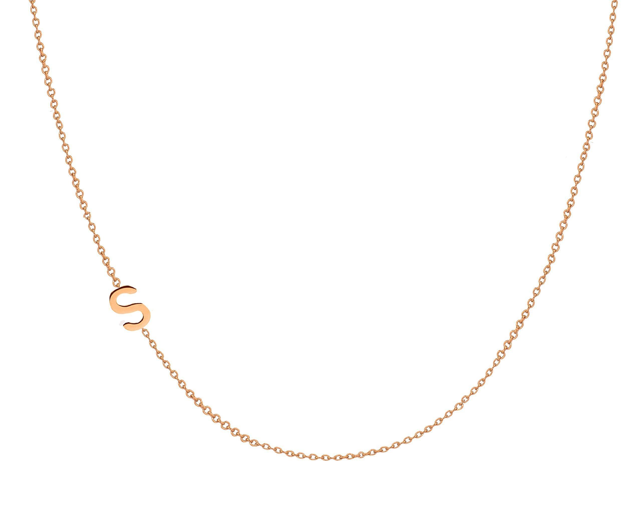 14k gold asymmetrical initial necklace by Zoe Lev Jewelry