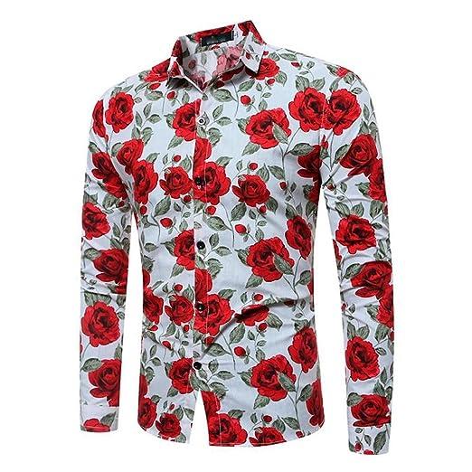 Blusa Hombre Yesmile Camiseta Camisa de Manga Larga Casual para Hombre Camisa de Corte Slim Estampada: Amazon.es: Ropa y accesorios