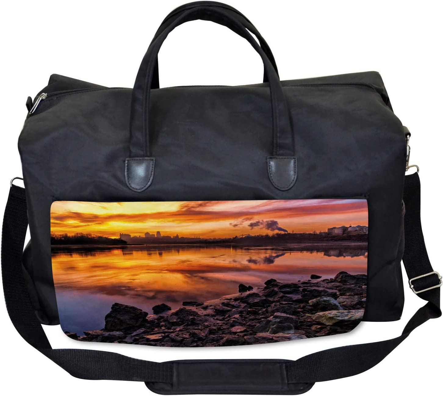 Ambesonne Colorful Gym Bag Kansas City Scenery Large Weekender Carry-on