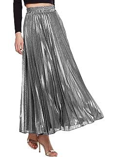 5d544106bd Amormio Women's Glittery Gold/Silver High-Waist Metallic Accordion Pleated  Formal Party Maxi Skirt
