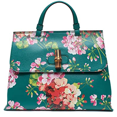 81457963e54 Gucci Teal Green Shanghai Blooms Top Handle Flower Bag Handbag Authentic  Italy New