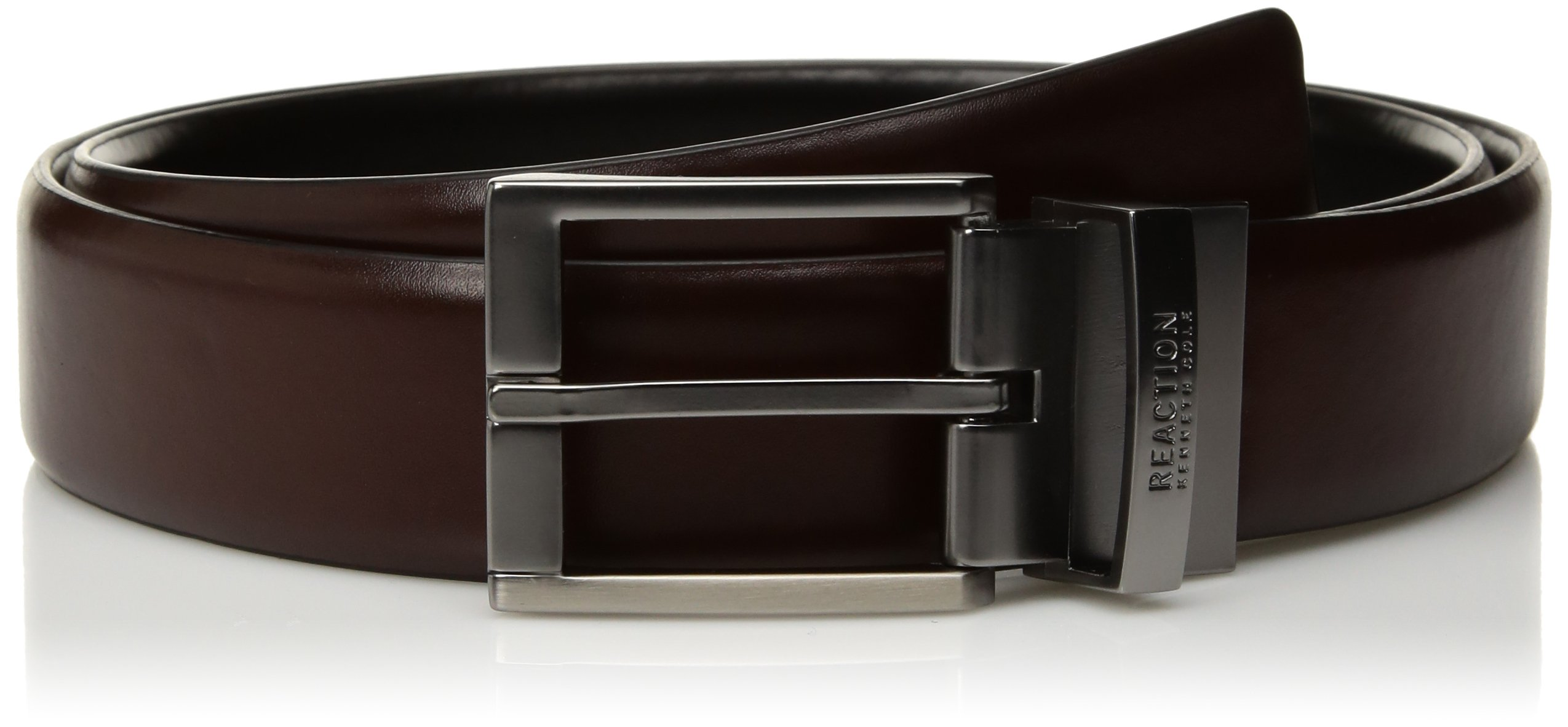 Kenneth Cole REACTION Men's Reversible Casual Belt, Black/Brown Stitch, Medium