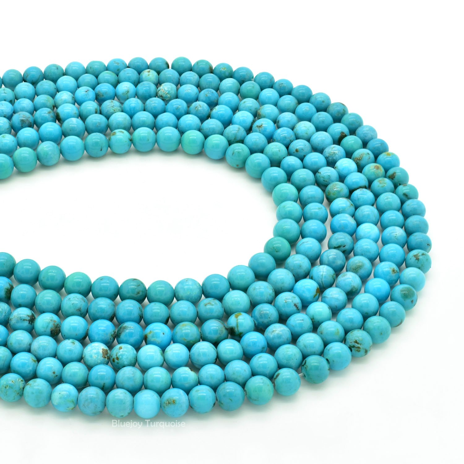 Bluejoy Genuine Natural American Turquoise Round Bead 16 inch Strand for Jewelry Making (5mm) by Bluejoy Turquoise