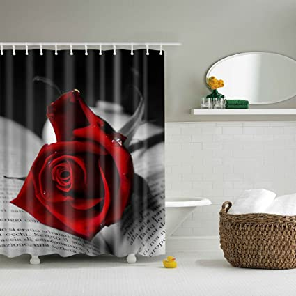Cici Store Red Rose Flower Romantic Waterproof Fabric Shower Curtain With 12 Hooks