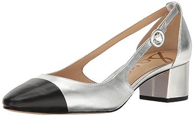 Sam Edelman Women's Soft Silver/Black Leah Cutout Block Heel - 6 B(M