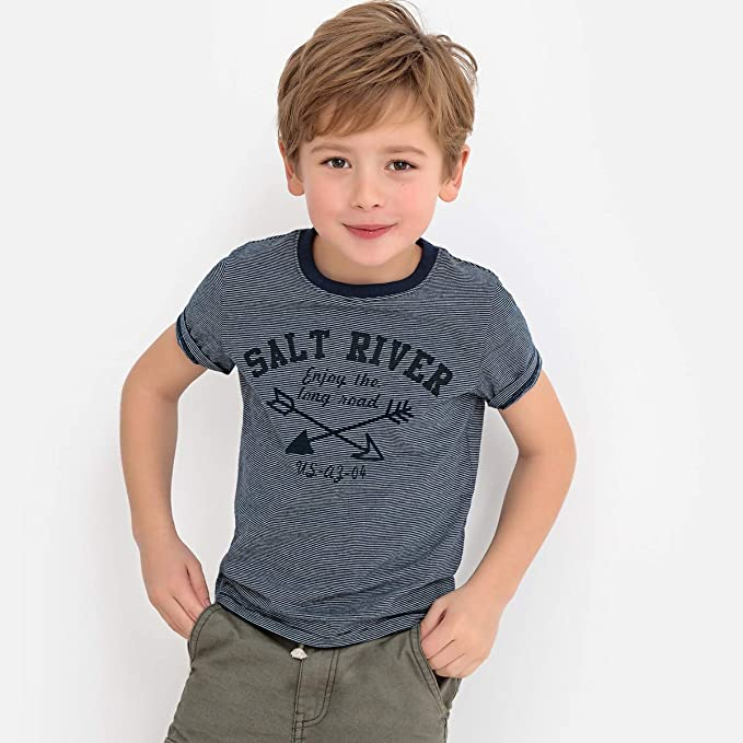 7a13572b La Redoute Collections Big Boys Cord Stripe T-Shirt with Chest Motif, 3-