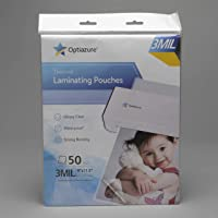 """Optiazure Thermal Laminating Pouches 9""""x11.5"""" Inches, 3mil 50Pack, Clear and Sturdy, Letter Size"""