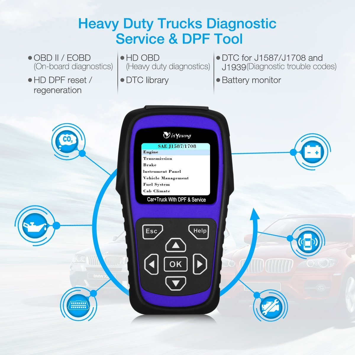 isYoung Professional Auto Scanner Scan Tool with HD DPF/Sensor  Calibration/Oil Reset Tool + Engine Check Tool for Car, Truck & Car 2 In 1  Code Reader