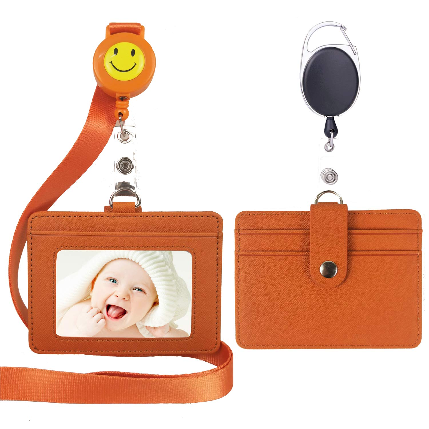 Business Office Student Nurse Leather ID Badge Holder Card Holder with Lanyard