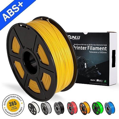 SUNLU ABS Plus 3D Printer Filament, ABS Filament 1.75 mm, 3D Printing filament Low Odor Dimensional Accuracy +/- 0.02 mm, 2.2 LBS (1KG) Spool 3D Filament for 3D Printers & 3D Pens,Yellow Gold ABS+