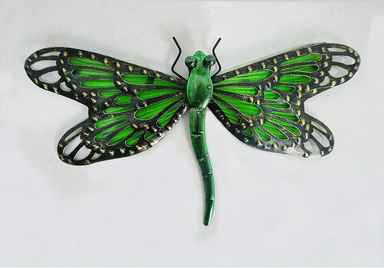 "Comfy Hour 12"" Metal Art Dragonfly Wall Decor Green"
