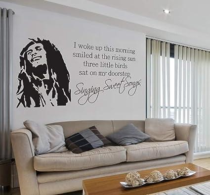 Elegant Wall Vinyl Decal Bob Marley Singing Sweet Songs Lyrics Music Quote Lounge Living  Room Hallway Bedroom