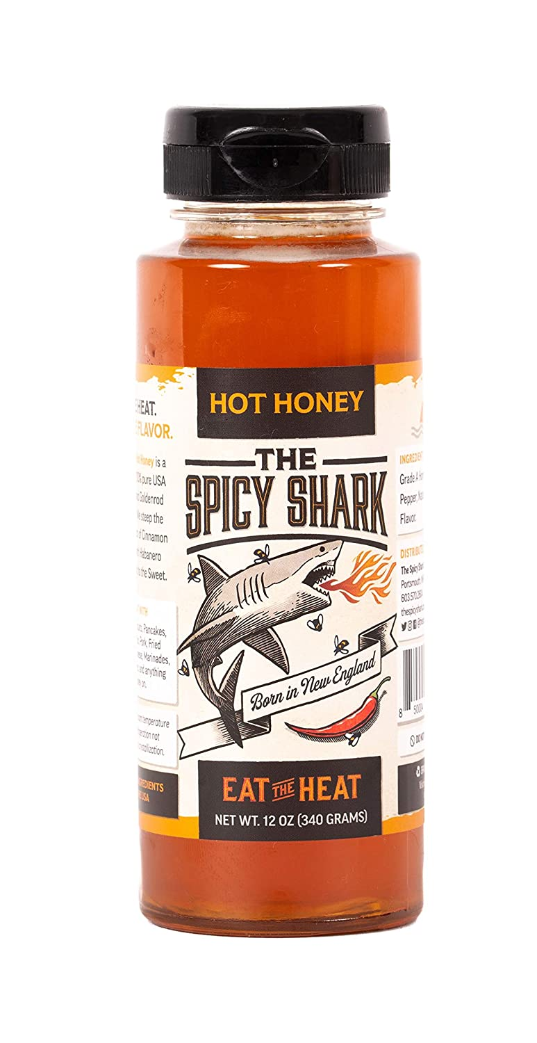 The Spicy Shark Hot Honey 12 oz Bottle 100% pure Spicy Hot Honey, Made in the USA, Gluten-Free & Paleo