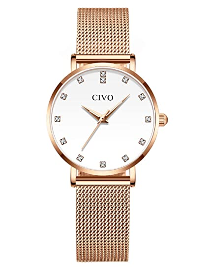 CIVO Relojes para Mujer Reloj Damas de Malla Impermeable Silm Minimalista Elegante Banda de Acero Inoxidable Relojes de Pulsera Moda Vestir Negocio ...