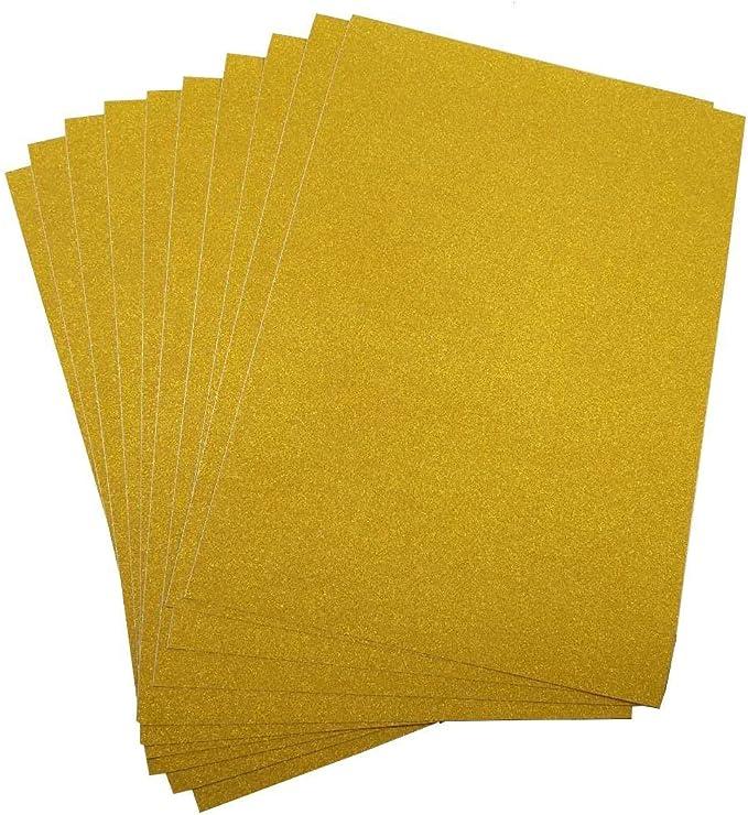 10 Hojas A4 Cartulinas Adhesivas de Colores Brillantes Cartulinas de Colores Papel Pegatina para Manualidades DIY Artcraft Trabajo Álbumes de Recortes Color Dorado: Amazon.es: Oficina y papelería
