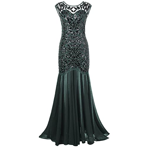 PrettyGuide Women s 1920s Black Sequin Gatsby Maxi Long Evening Prom Dress