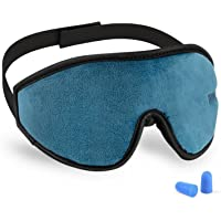 3D Sleeping Mask Eye Cover, Cshidworld Patented Design 100% Blackout Sleep Mask Contoured Comfortable Lightweight Adjustable Eye Mask & Blindfold for Travel, Nap, Shift Works(Blue)