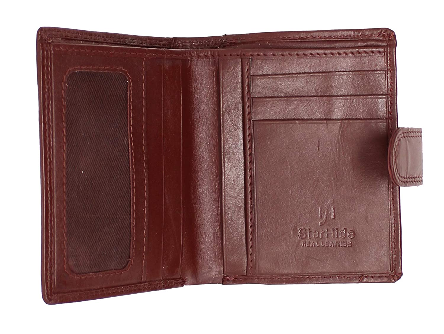 Brown STARHIDE Mens RFID Blocking Soft Real Leather Wallet with Zip Around Coin Pouch 1080